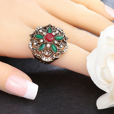 Vintage Women Jewelry Hollow Flower Rhinestone Inlaid Finger Ring Birthday New