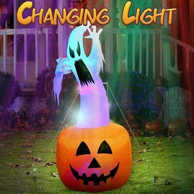 Inflatable Pumpkin Ghost Blow Up Holiday Outdoor Yard Light Up Halloween Decor