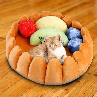 US Pet Dog Cat Fruit Tart Bed Pad Keep Warm Kennel Cat Sleep Bed Mat Nest House