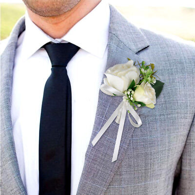 1PCS Best Man Corsage Silk Rose Pin Brooch Wedding Flowers Boutonniere
