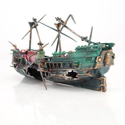 Aquarium Dekorationen Wrack versunkene Schiff Aquarium Kunststoff Boot #DE06 ()