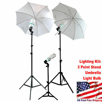 Studio Photography Lighting Kit 3 Point Stand Lighting Umbrella Photo Bulb Lamp@