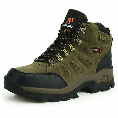 Mens walking casual winter leather waterproof ankle hiking work rain boots shoes ()