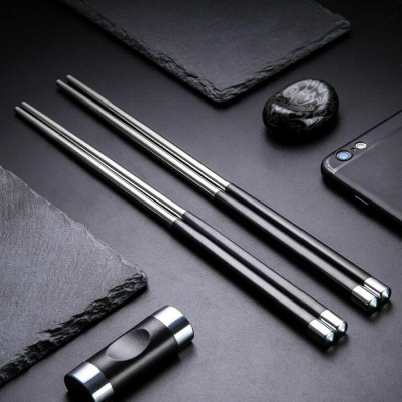 1 Pair Reusable Chopsticks Metal Korean Chinese Stainless St