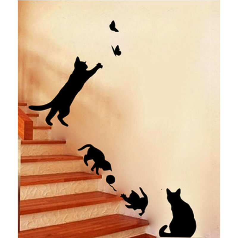 Home Decoration - Black Removable Lamp Cat Wall Stickers Decal for Home Stair Sticker Decals DIY