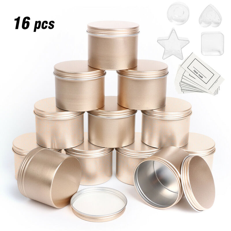 16pcs Gold Empty Tin Jars DIY Candle Making Earphone Storage Case Organizer Gift