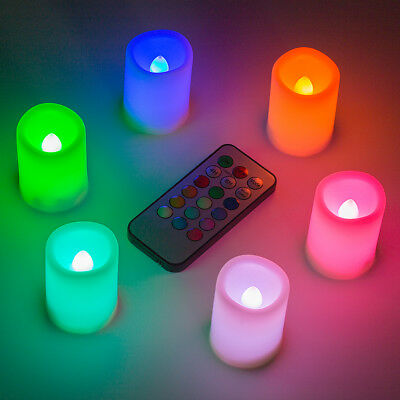 6x LED Flameless Color Changing Flickering Ivory Candles Battery Operated](Colored Flameless Candles)