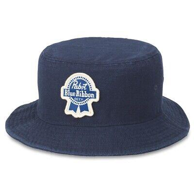 PBR Pabst Blue Ribbon Beer Forrester Navy Blue Bucket Hat Blue