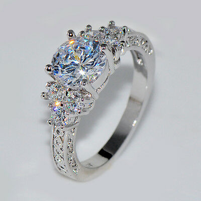 5.80/ct Lab diamond White Sapphire Wedding Ring 10KT White Gold Jewelry Size4-12