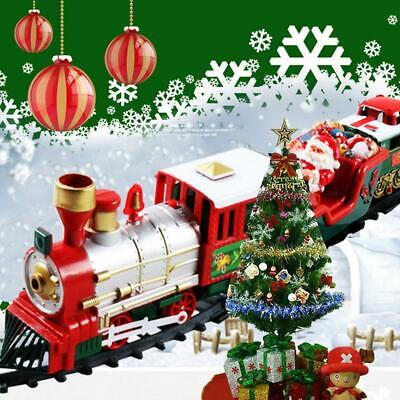 Christmas Musical Light Train Trees Box Set Xmas Ornament Decor Kid Gift Toys