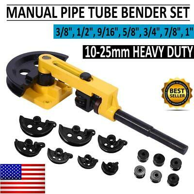 Pipe Tube Bender 38 To 1 Inch 10-25mm Manual Bending Machine W7 Dies Tubing
