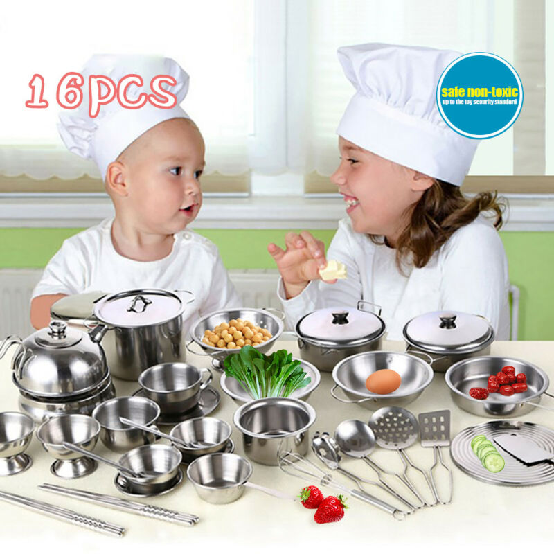 16Pcs Stainless Steel Pots Pans Cookware Miniature Toy Pretend Play Gift For Kid