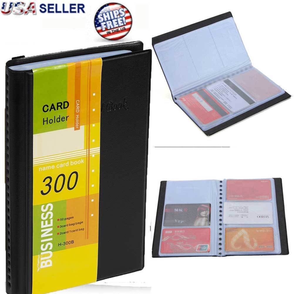 Leather Business Cards Holder Case Organizer 300 Name ID Credit Card Book Keeper Business & Industrial