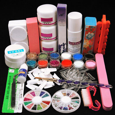 US Post Complete Acrylic Nail Art Kit Liquid Glitter Powders Sticker Tips Brush
