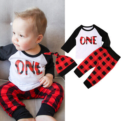 US Baby Boy 1st Birthday Outfits Cotton T-shirt+Plaids Pants Trousers 2PCS Set (Boys 1st Birthday)