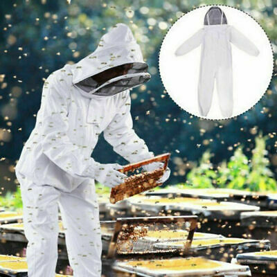 Xl White Anti-bee Suit Full Body Ventilated Veil Beekeeping Hood Coat Cotton