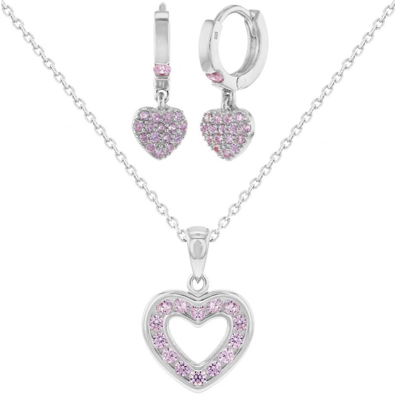 925 Sterling Silver Cute Pink Cubic Zirconia Heart Necklace & Earrings for Girls