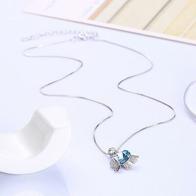 Swarovski Elephant Necklace - Made With Swarovski Crystal Elephant Luck Charm Blue Pendant Chain Necklace