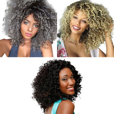Women Ombre Color Grey/White Curly Wig Afro Kinky Curly Medium Natural Hair Wigs