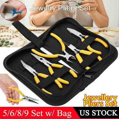 5/6/8/9Pcs Pliers Set Jewelry Making Kit Bead Working Hobby Crafts Hand Tools