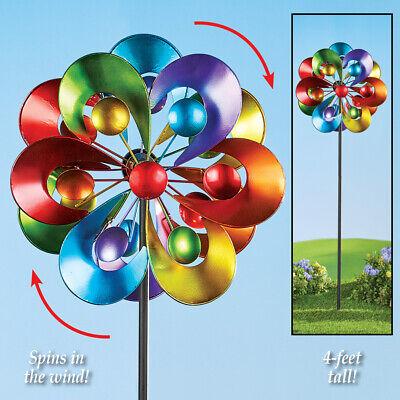 Rainbow Vibrant Wind Spinner Double Curved Pinwheel Metal Garden Yard Stake - Rainbow Pinwheel