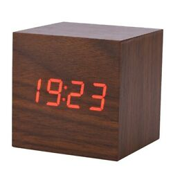 Digital Wooden LED Alarm Clock Wood Retro Glow Clock Desktop Table