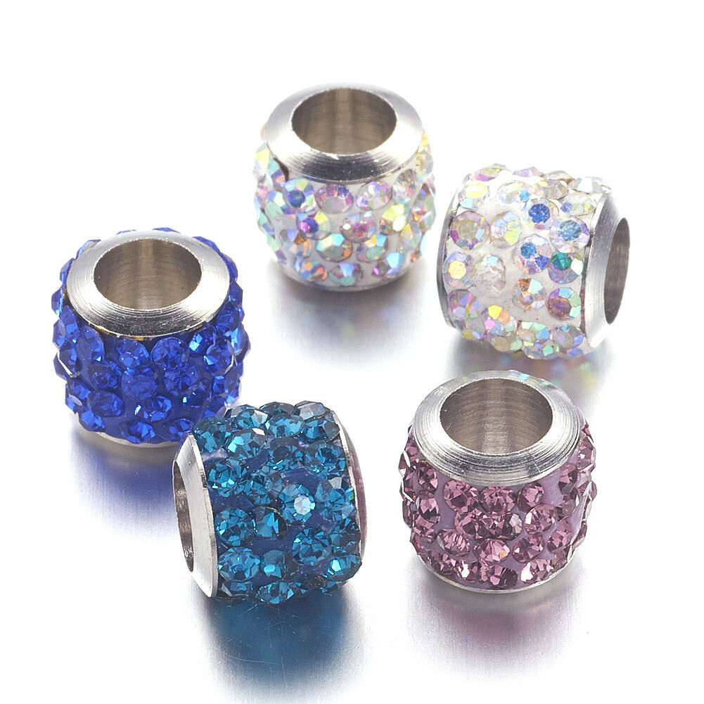 Large Hole Beads with Blue Rhinestones Spacer Beads Metal beads Pack of 5