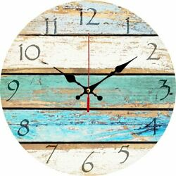 12in Vintage Look Shabby Beach Weathered Beachy Boards Round Wall Clock Nautical