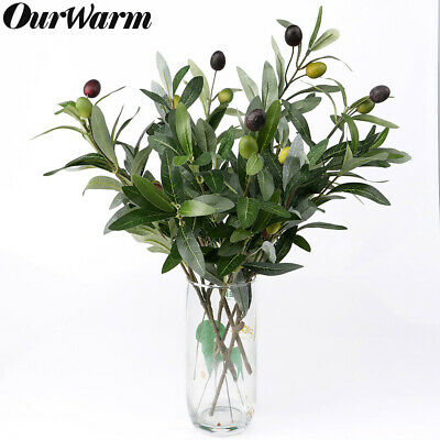 Artificial Leaf Olive Tree Branch & Olive Fruit Green Plant Silk Flowers Decor Olive Tree Branch
