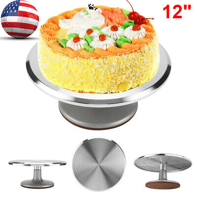 Decorative Cake Stands (12inch Aluminum Cake Turntable Rotating Decorating Stand Pastry Baking Decor)