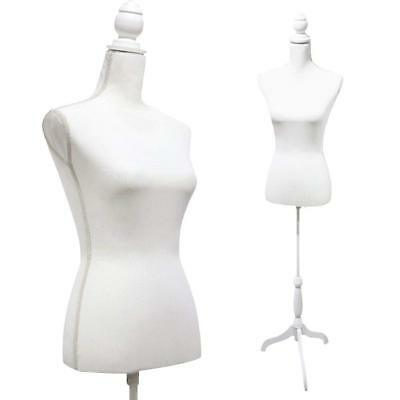 White Female Mannequin Torso Dress Form Body Stand Tripod Stand Display