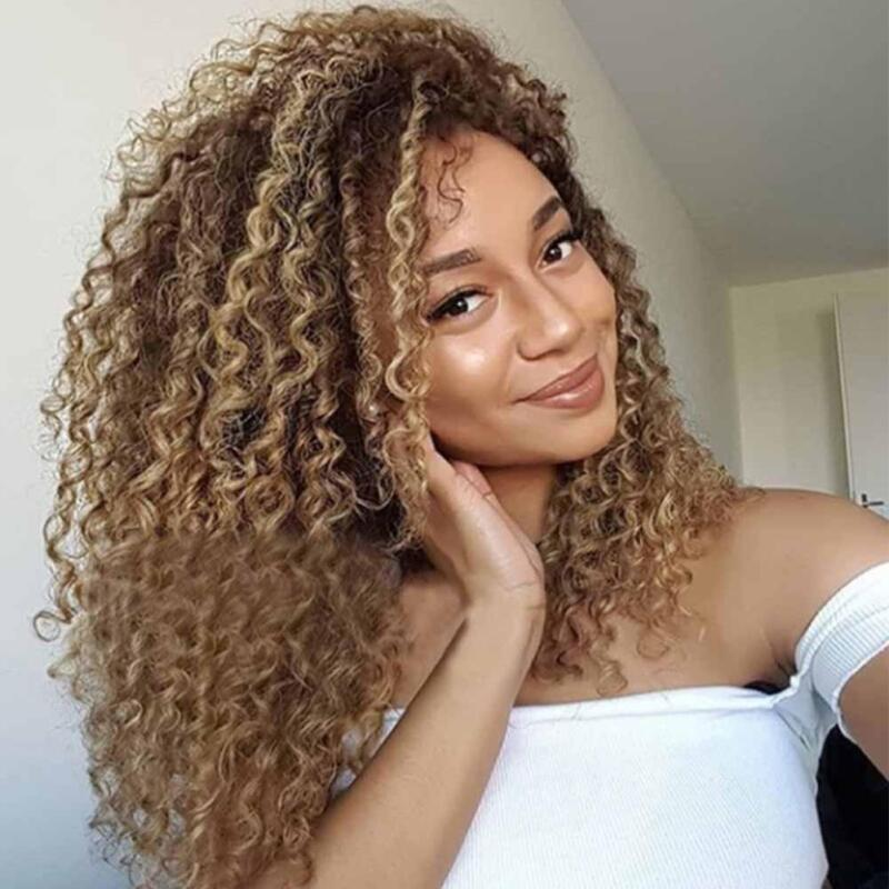 Thick Afro Hair Wig Brown Long Kinky Curly Long Ombre