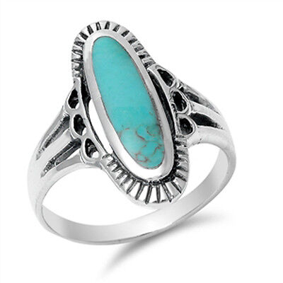 Women's Long Turquoise Beautiful Ring New .925 Sterling Silver Band Sizes 4-12 Beautiful Sterling Silver Ring