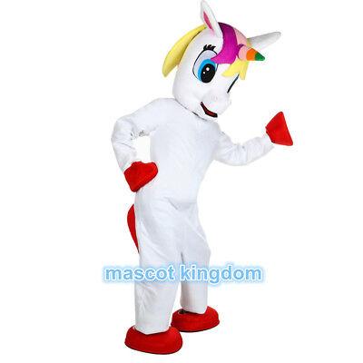 Unicorn Mascot Costume White Horse Cartoon Birthday Fancy Party Cosplay Dress (Horse Mascot Costume)