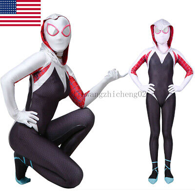 Spiderman Costumes For Girls (Spider-Man: Into the Spider-Verse Gwen Stacy Kids Girls Costume Jumpsuit)