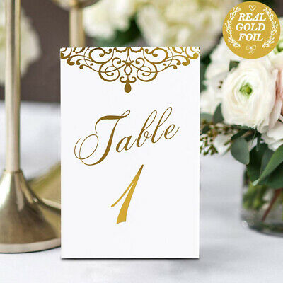 Gold Wedding Table Numbers (AerWo Gold Wedding Table Numbers 1-25 and Head Table Card, Double Sided)