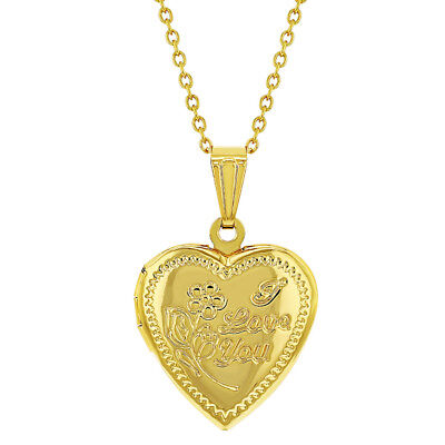 Gold Tone Small Heart Photo Locket I Love You Womens Necklace Pendant 19