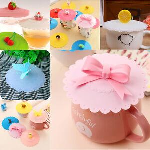 5X Cute Cup Cover Mug Suction Seal Lid Cap Silicone Cartoon Airtight Spoon Hot