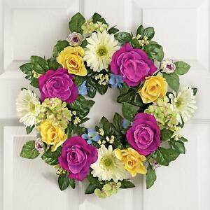 Spring Summer Yellow U0026 Purple Rose Floral Wreath W/ Hook 17