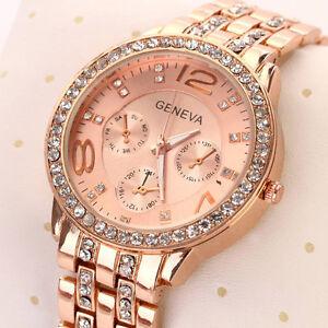 Ladies Women Luxury Rose Gold Quartz Crystal Bling Dress Bracelet Quartz Watch