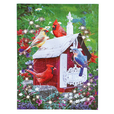 Lighted Fiber Optic Spring Birds Canvas Wall Art, by Collections Etc