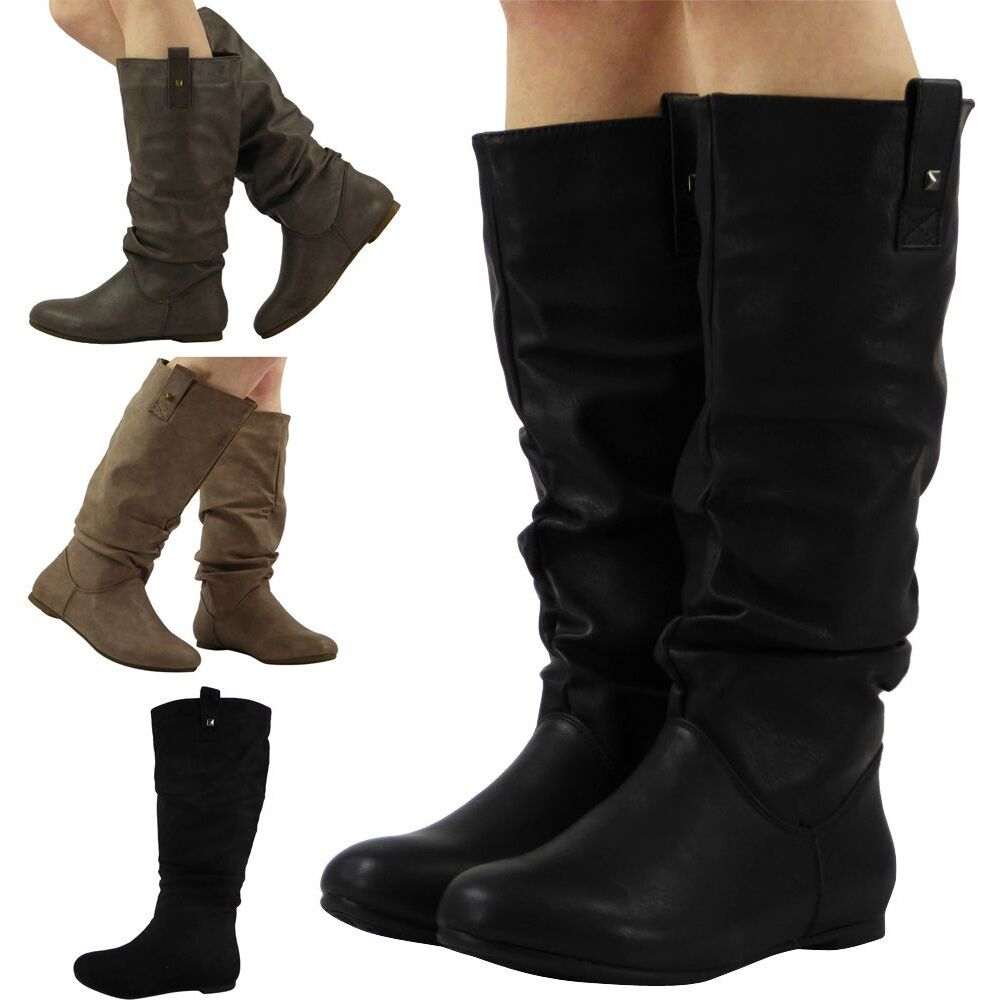 Womens Mid Calf Boots Pixie Rouched Flat Pull On Knee Long -5287