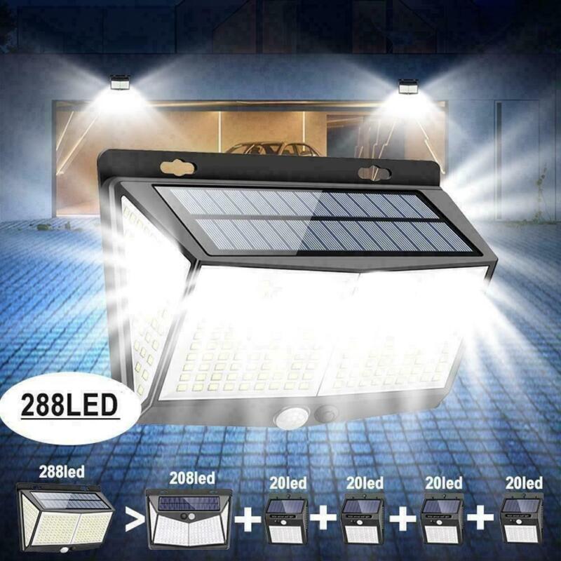 Waterproof 288 LED Solar Power Light PIR Motion Sensor Outdoor Lamp Wall Garden