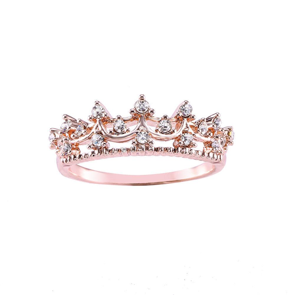 New Exquisite Princess Women Rose Gold Plated Rhinestone Cro