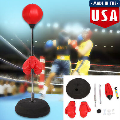 Adult Boxing Gloves Punch Exercise Bag Ball Set For Speed Training Stand