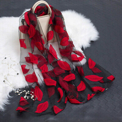 Embroidered Leaves Scarf (Summer Embroider Floral Lace Leaves Organza Scarf Women Sunscreen Shawl)