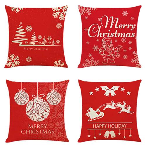 "4Pcs Christmas Throw Pillow Case Cushion Cover 18""X18"" Xmas"