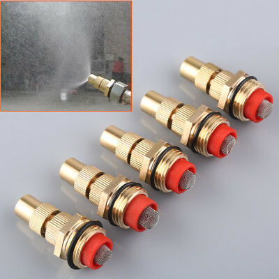 """5pcs 1/2"""" Brass Adjustable Misting Nozzle Sprinkler - Patio Cooling Mositurize"""
