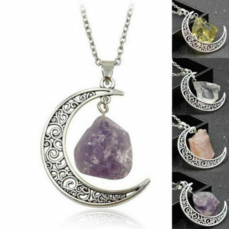 Jewellery - Natural Quartz Crystal Pendant Chakra Healing Gemstone Moon Necklace Jewelry