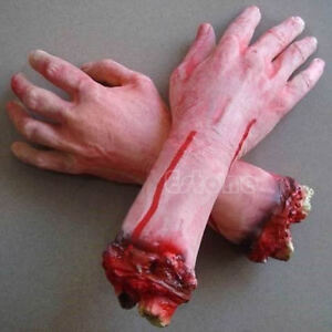 1 PC Severed Cut Off Bloody Fake Latex Lifesize Arm Hand Scary Halloween Prop